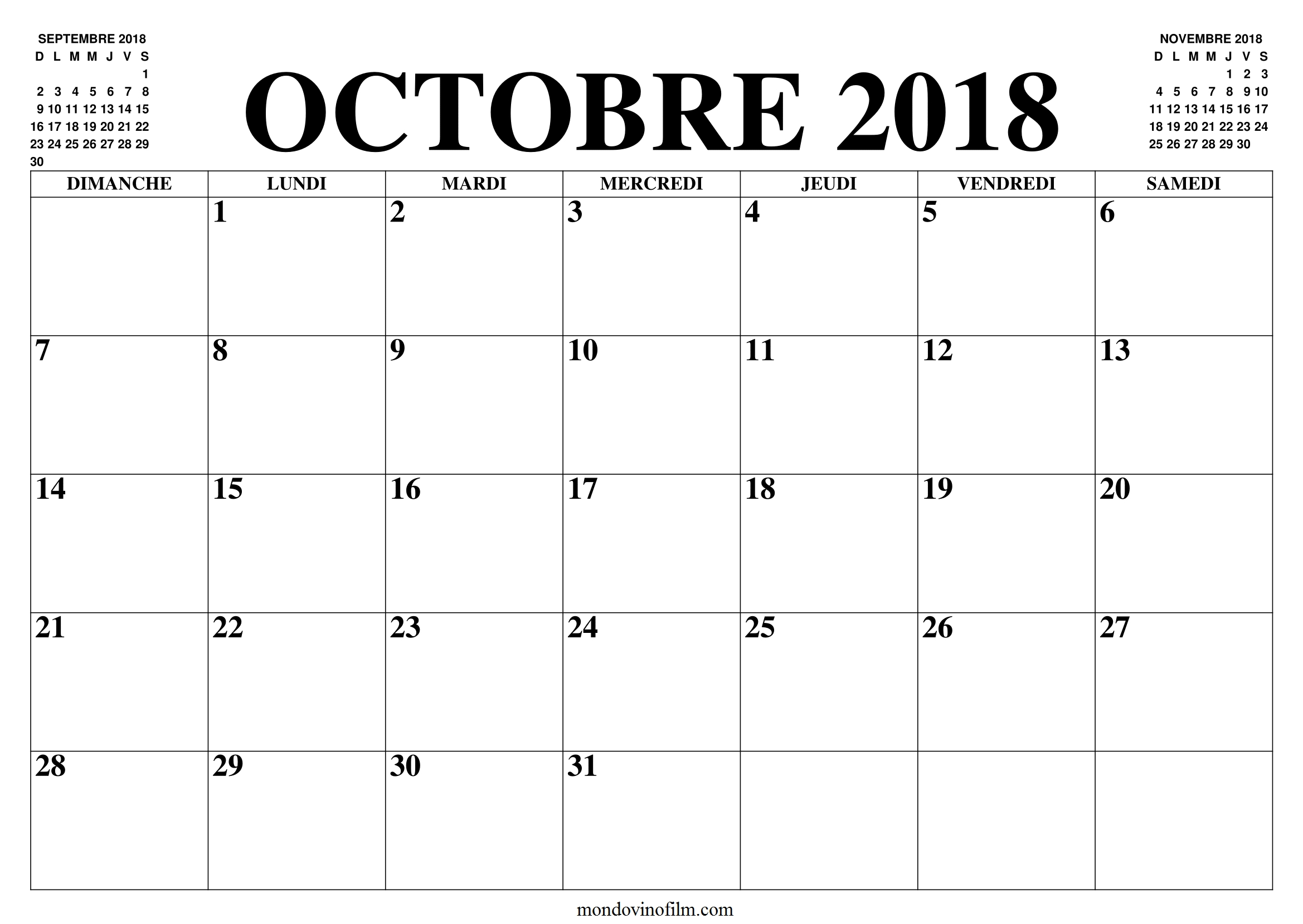 Octobre Calendrier 2018 | Sheet Music, Words, Math