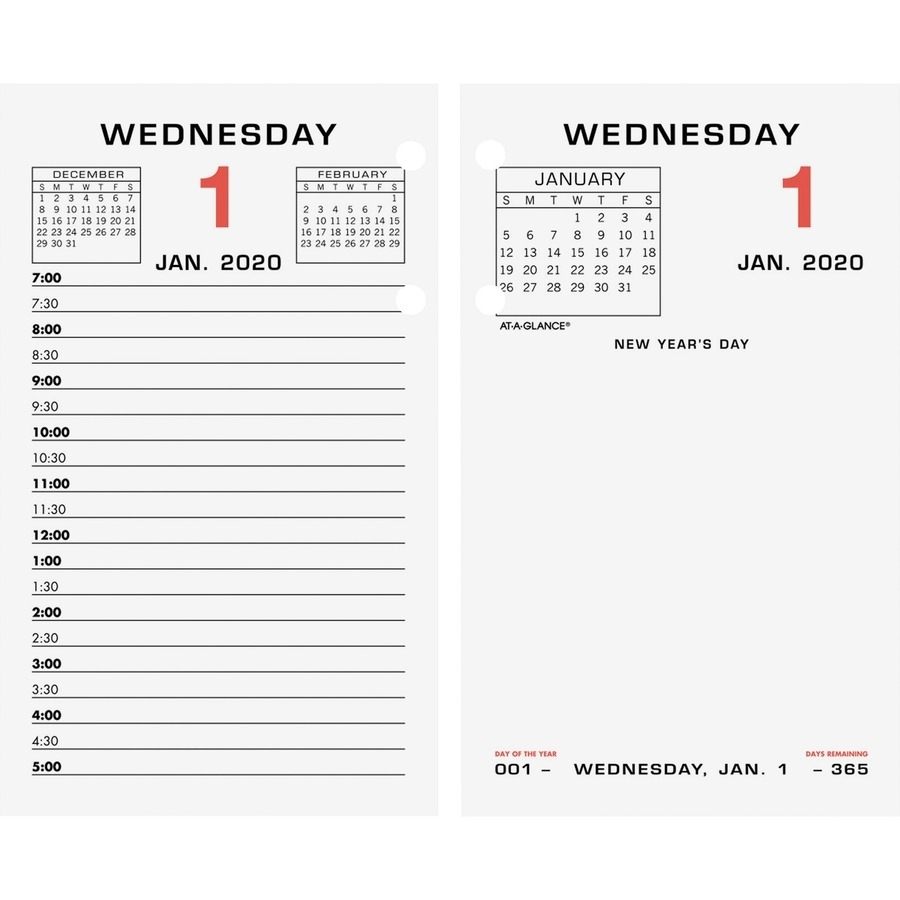 At-A-Glance Daily Two-Color Desk Calendar Refill With Tabs - Yes - Daily -  1 Year - January 2020 Till December 2020 - 7:00 Am To 5:00 Pm - 1 Day