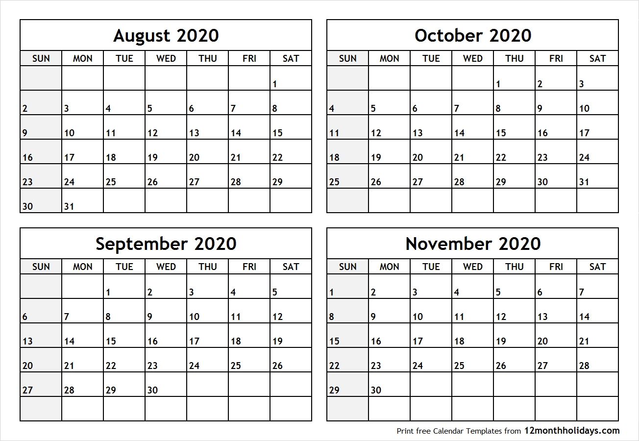 Calendar-August-To-November-2020-Printable - All 12 Month