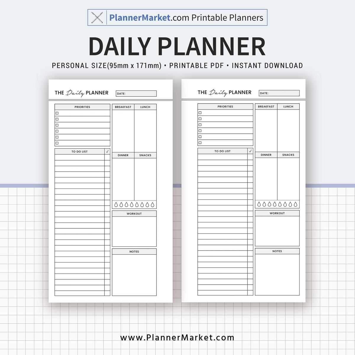 Daily Planner, 2020 Planner, Personal Size Inserts, Planner
