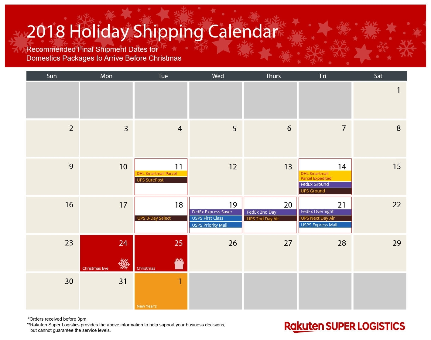 Holiday Shipping Calendar For 2018 | Shipping During The