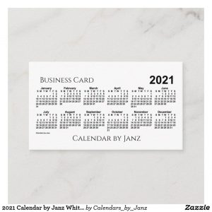 2021 Calendarjanz White Euro Business Card | Zazzle