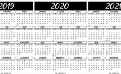 2019 2020 2021 Calendar Printable Template (With Images