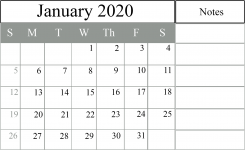 2020 January Calendar with notes