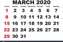 Calendar March 2020 With Weeks