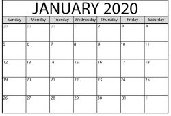 2020 Calendar Template Big Font For People With Lack Of Sight