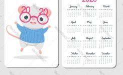 2020 Calendar Template With Cartoon Mouse Chinese