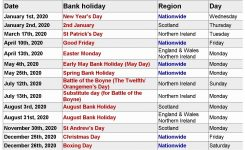 2020 Uk Bank Holidays Calendar | Bank Holiday Calendar