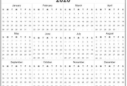 2020 Yearly Calendar Printable Full Pages