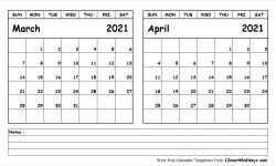 2021 Printable Calendar March April