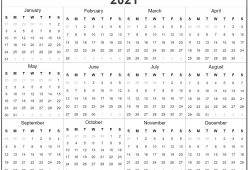 Print Yearly Calendar 2021 Free