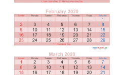 3 Month Calendar 2020 Printable January February March