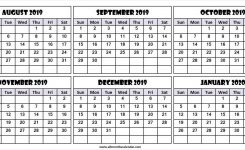 6 Month Calendar August 2019 To January 2020 | Download 2019
