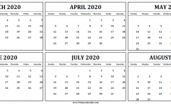 6 Month Calendar March To August 2020 | Calendar For Print