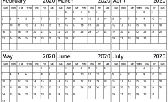 6 Month February To July 2020 Calendar Template   Pinterest