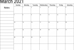 March 2021 Calendar with Notes