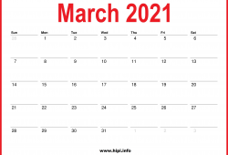 Monthly Calendar 2021 March