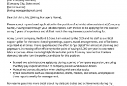Example Cover Letter For Job In Admin