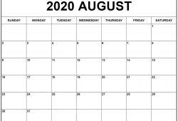 July To August 2020 Calendar Print