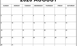 May June July August 2020 Blank Calendar