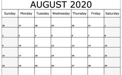 August 2020 Calendar Template | Monthly Calendars | Monthly