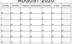 August 2020 Printable Calendar | Dream Calendars