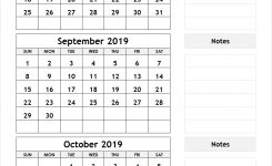 August September October 2019 Calendar | 3 Month Calendar
