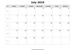 Blank Calendar Print Out 2019 With Notes