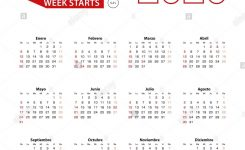 Calendar 2020 In Spanish Language With Public Holidays The