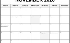 Collection Of November 2020 Calendars With Holidays
