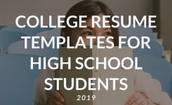 College Resume Templates For High School Students 2019