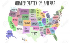 Colored Poster Map Of United States Of America With State Names