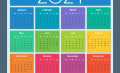 Colorful Calendar For Year 2021 Week Starts On
