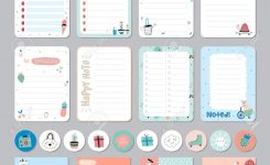 Cute Calendar Daily And Weekly Planner Template. Note Paper And..