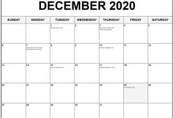 December 2020 Calendar With Holidays