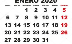 Enero 2020 Wall Calendar Spanish — Stock Vector