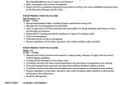 Food Production Manager Resume Sample