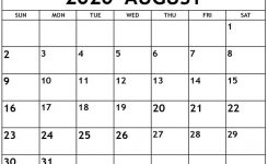 Free 2020 August Printable Calendar Templates [Pdf, Excel