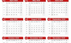 Free Printable 2020 Yearly Calendar For Free Usage