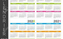 French Calendar Template For Years 2018, 2019, 2020, 2021, Week..