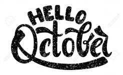 Hello October. Name Of The Month. Handwritten Lettering. Text