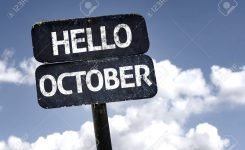 Hello October Sign With Clouds And Sky Background