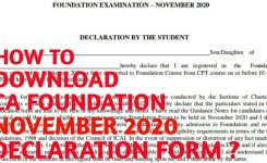 How To Download Ca Foundation Declaration Form For November