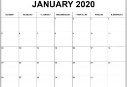 2020 Calendar Print Out Blank Monthly For Desk