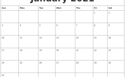 January 2021 Blank Monthly Calendar Template