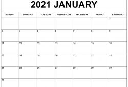 January 2021 Printable Calendar Templates Free Printable