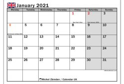 January 2021 Calendar United Kingdom