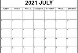 2021 Monthly Calendar Template Free