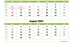 July And August 2021 Calendar With Holidays | Free Printable