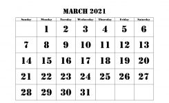 March 2021 Printable Calendar Word Excel Template Download